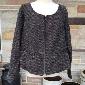 Avenue Tweed Zip Front Jacket